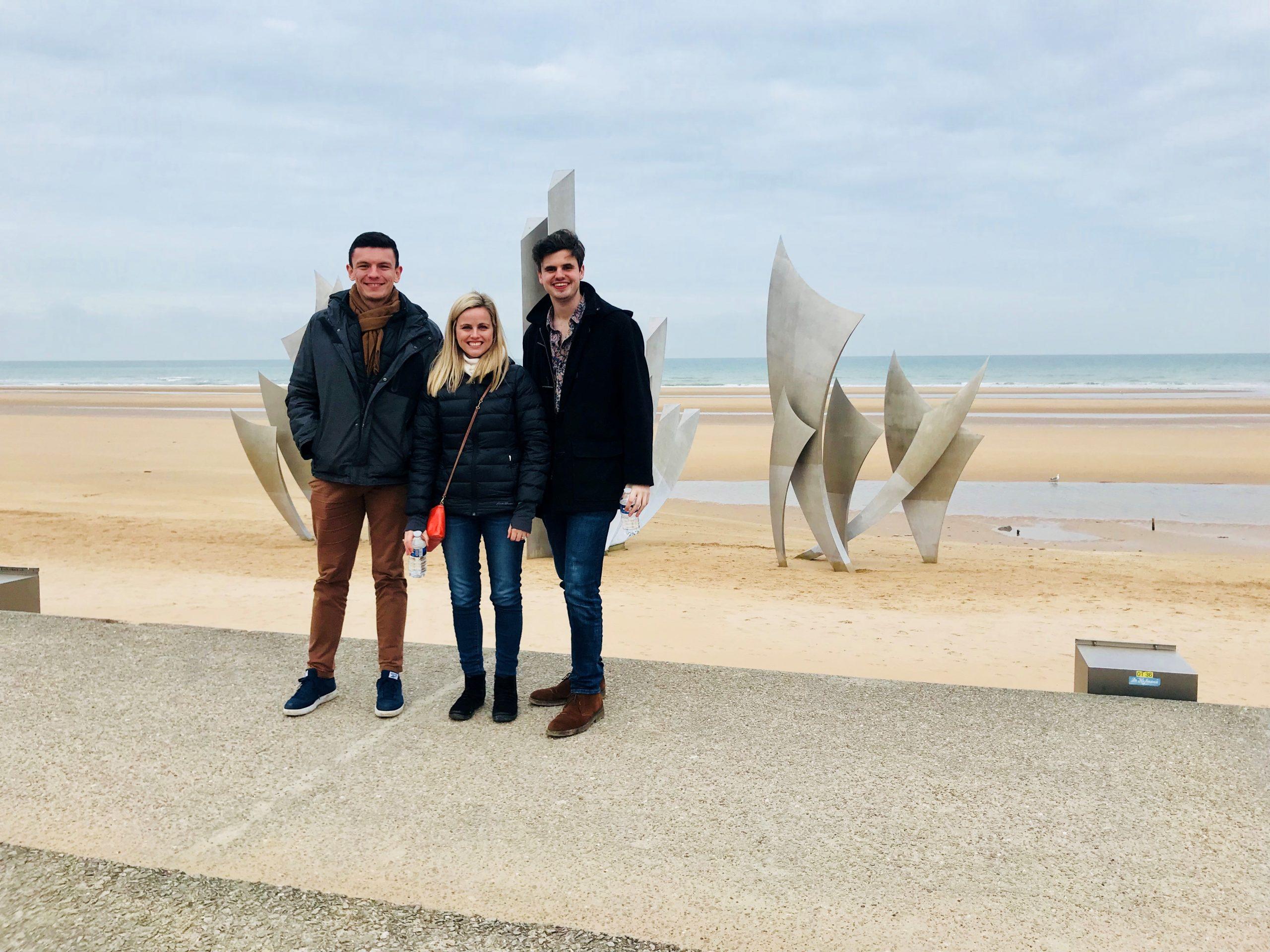 Amy, Nic, and Rodolphe Omaha Beach